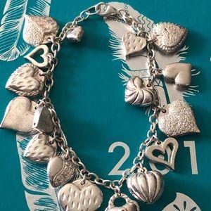 Sterling silver Puffy Heart Hollow Charm Bracelet